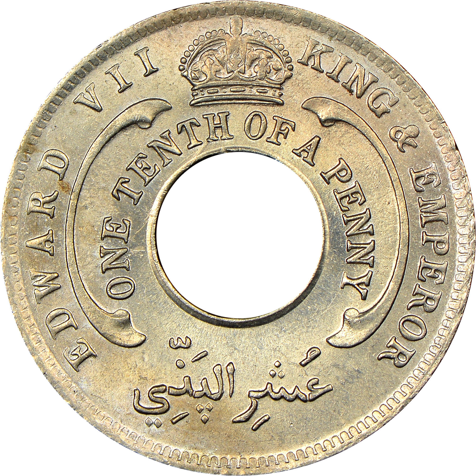 1908-1910 British West Africa 1/10 Penny obverse