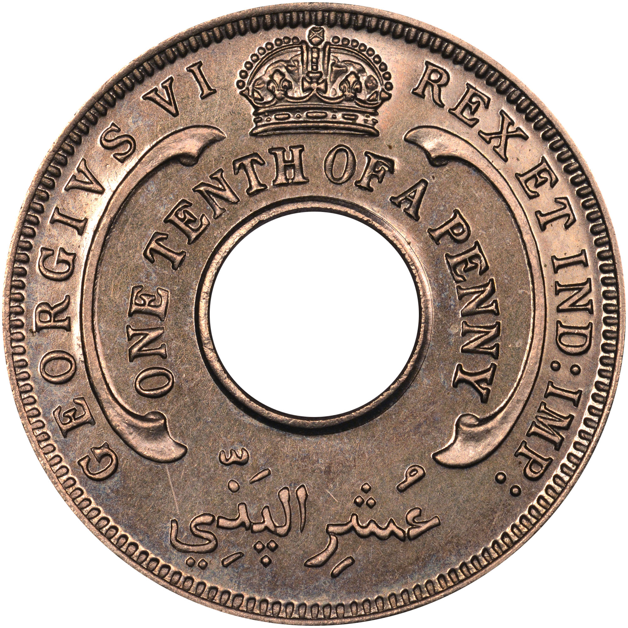 1938-1947 British West Africa 1/10 Penny obverse