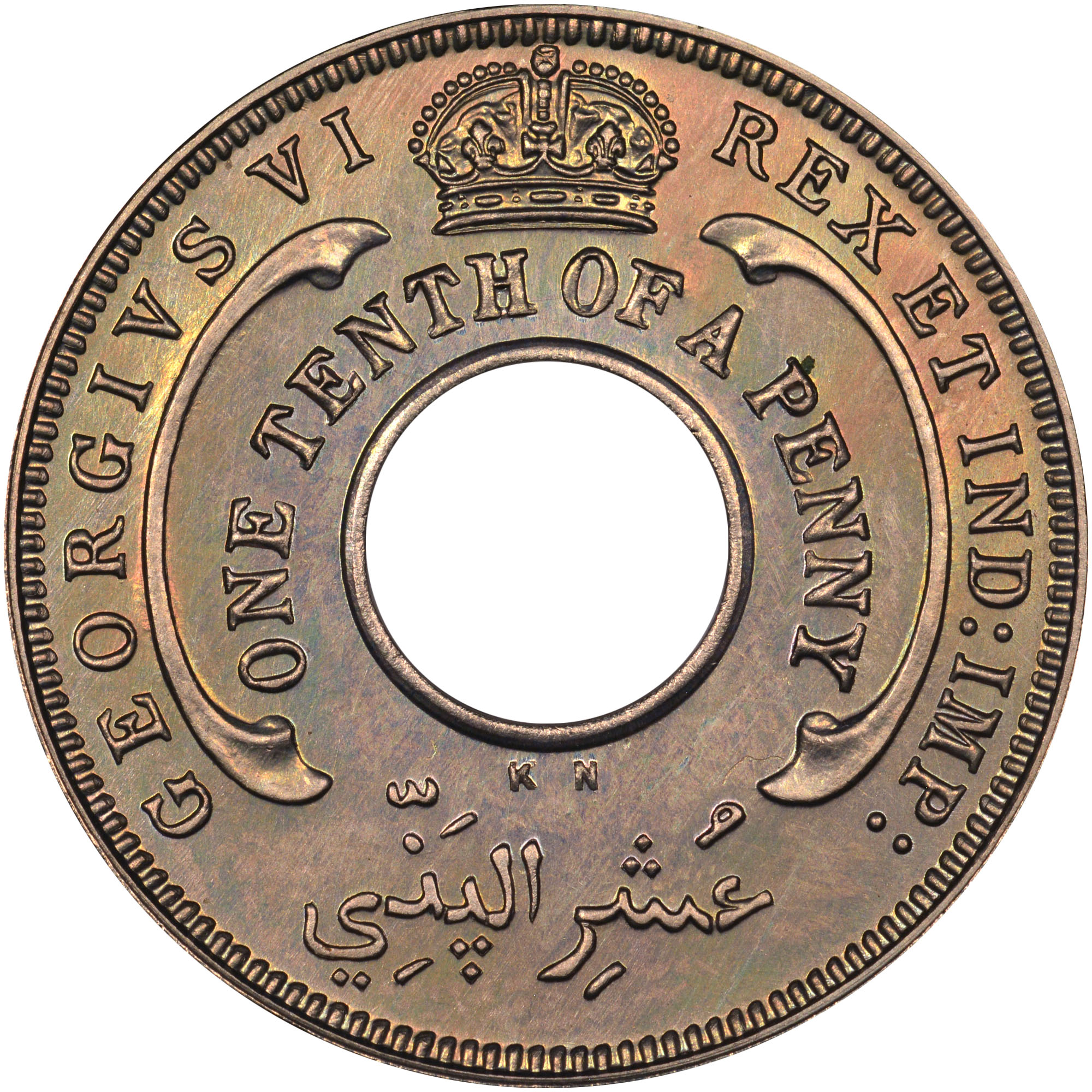 1938-1947 British West Africa 1/10 Penny obverse