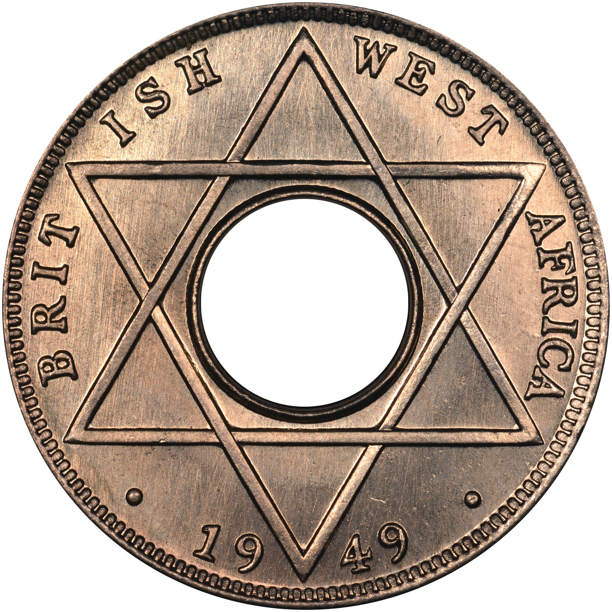 1949-1950 British West Africa 1/10 Penny reverse