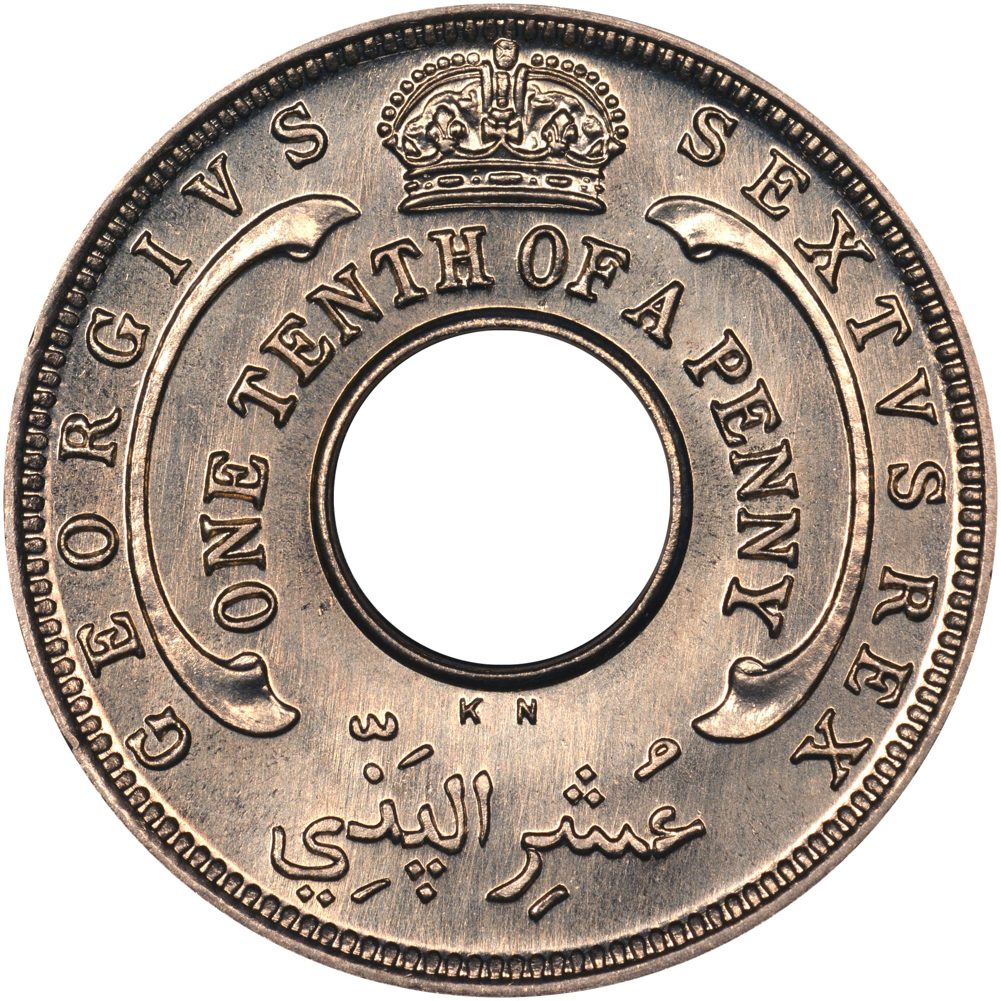 1949-1950 British West Africa 1/10 Penny obverse