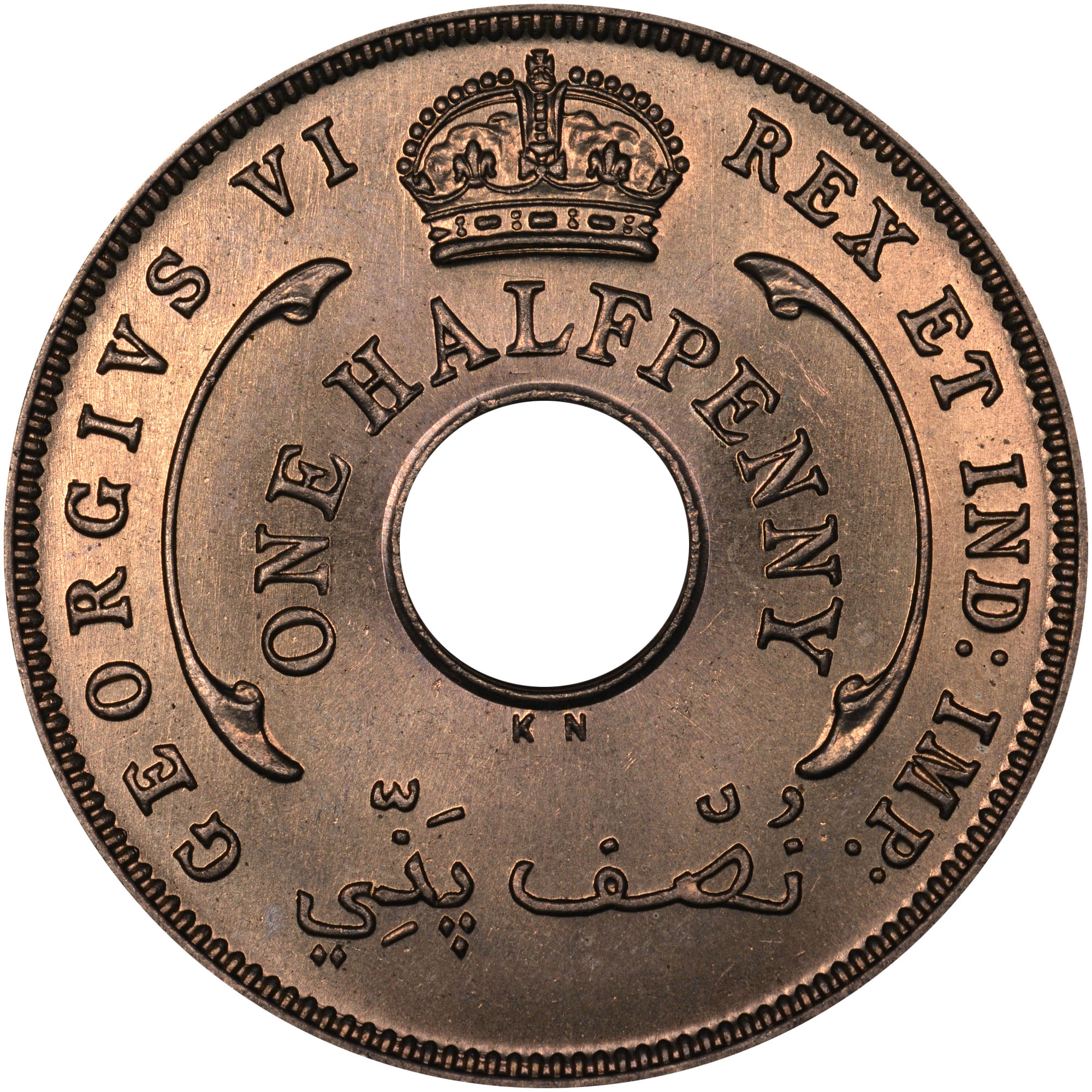 1937-1947 British West Africa 1/2 Penny obverse