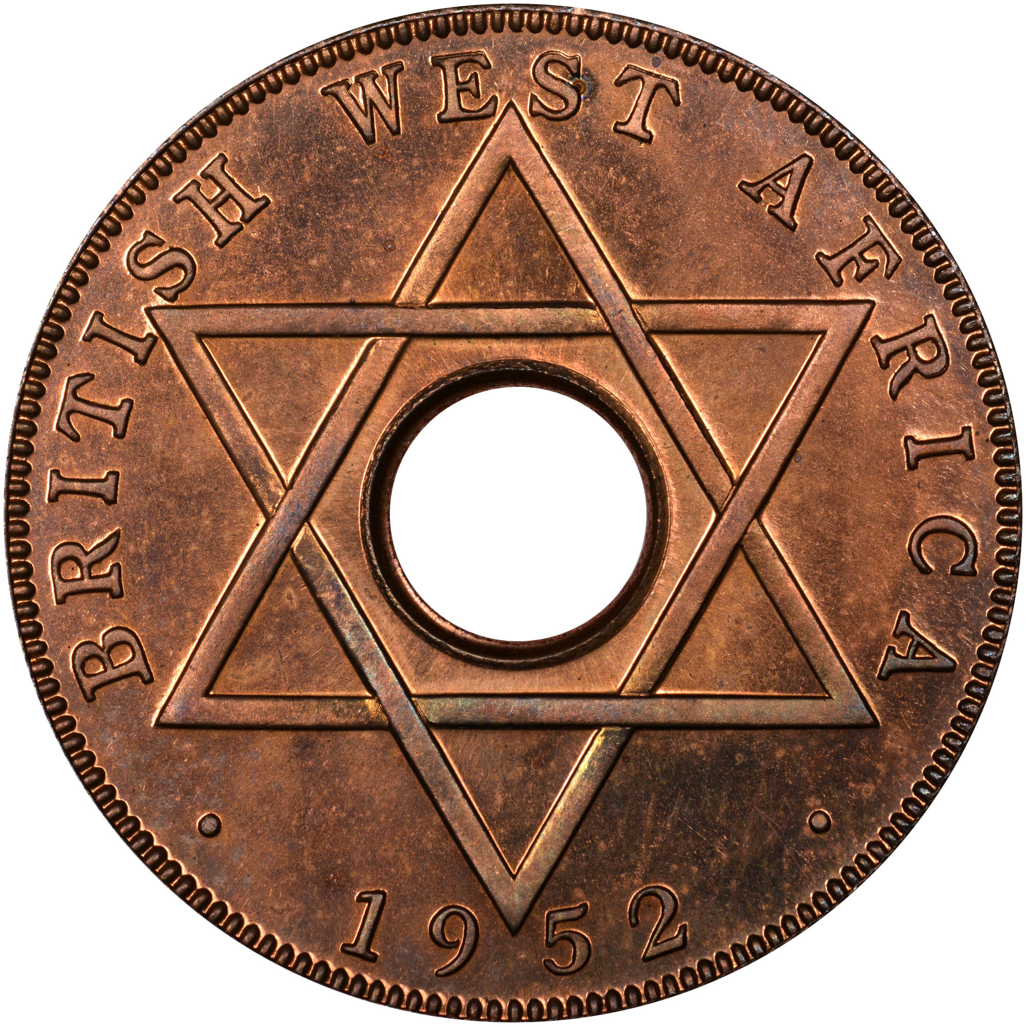 British West Africa 1/2 Penny reverse
