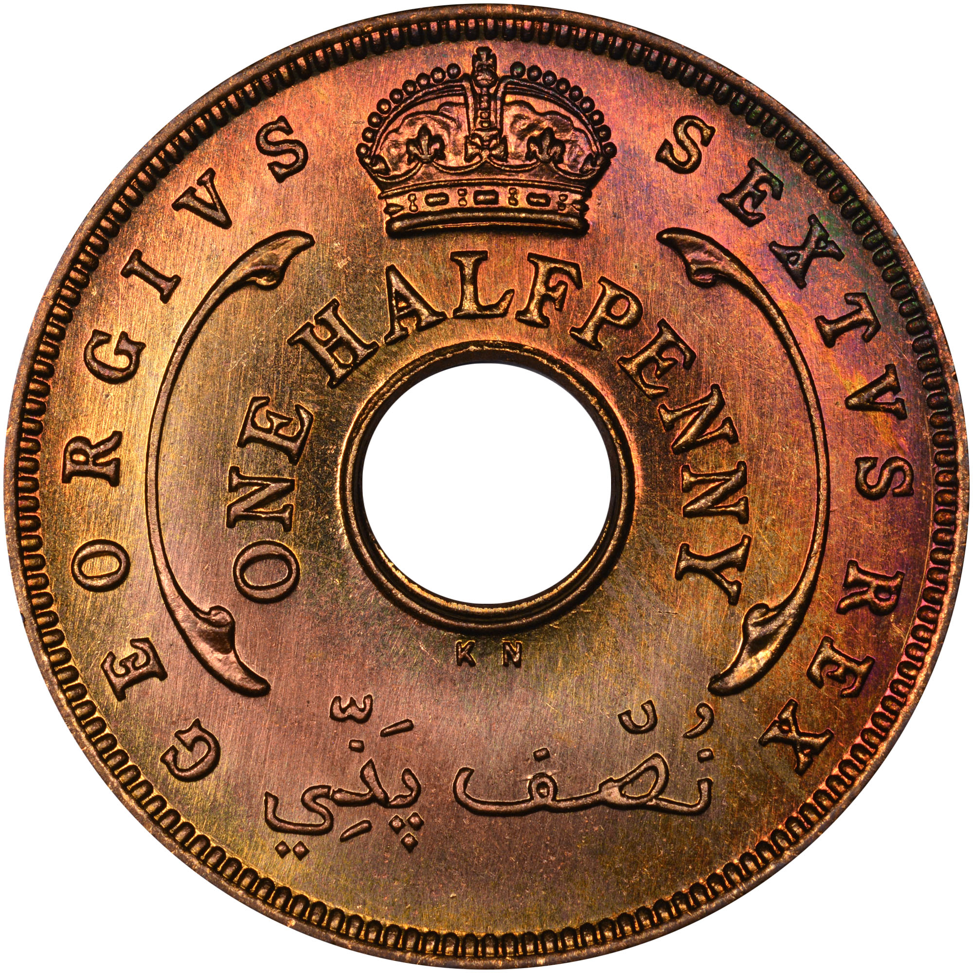 1952 British West Africa 1/2 Penny obverse