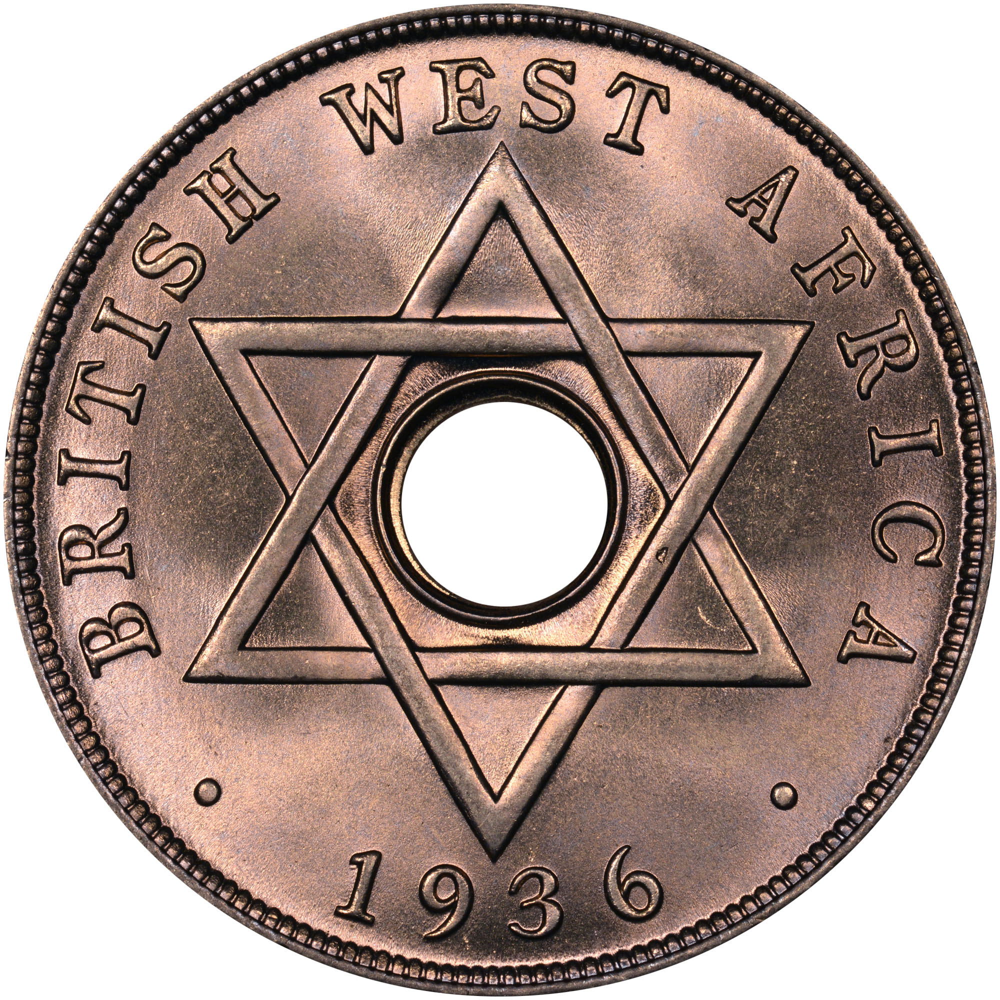 1936 British West Africa Penny reverse