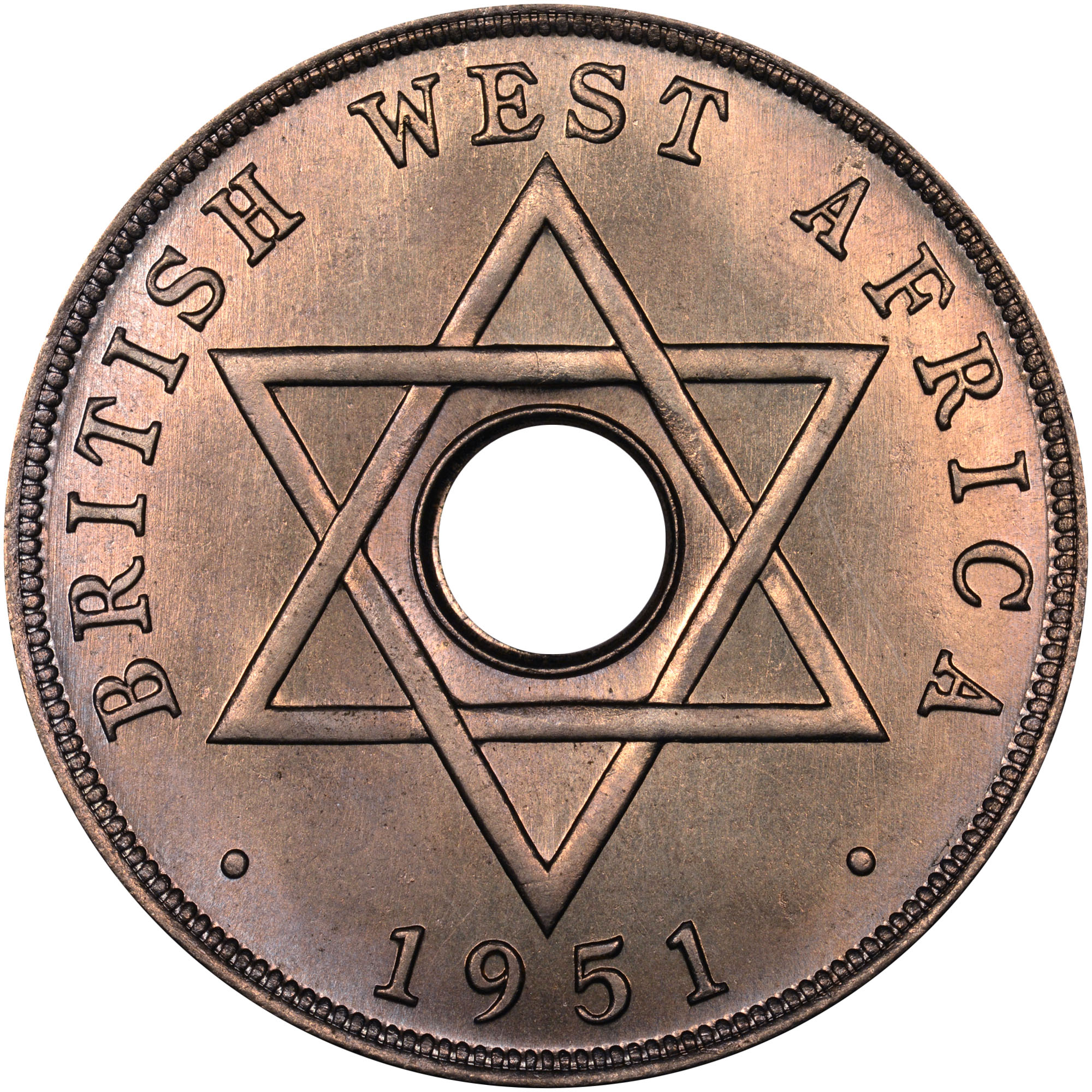 1951 British West Africa Penny reverse