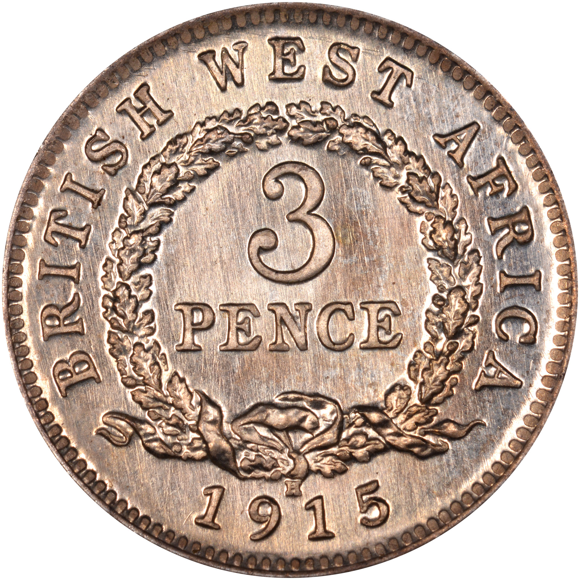 1913-1919 British West Africa 3 Pence reverse