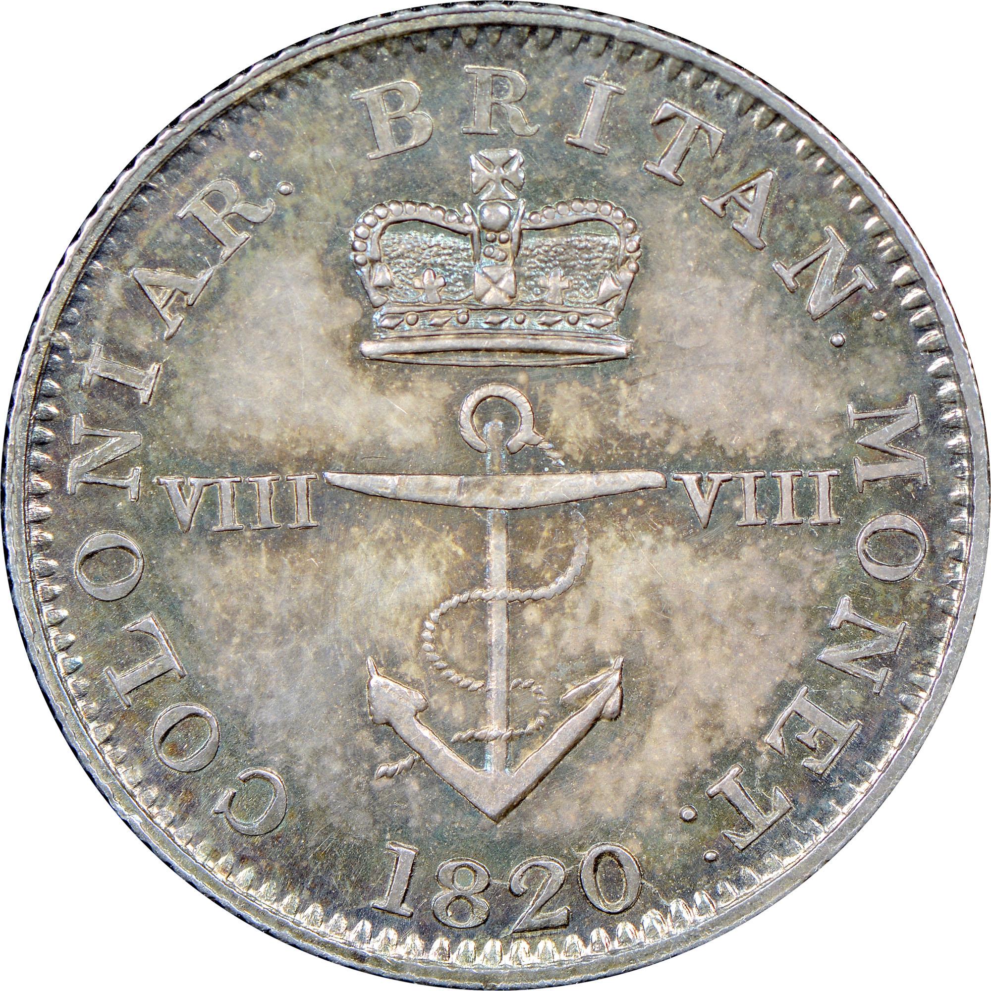 1820-1822/1 British West Indies 1/8 Dollar obverse