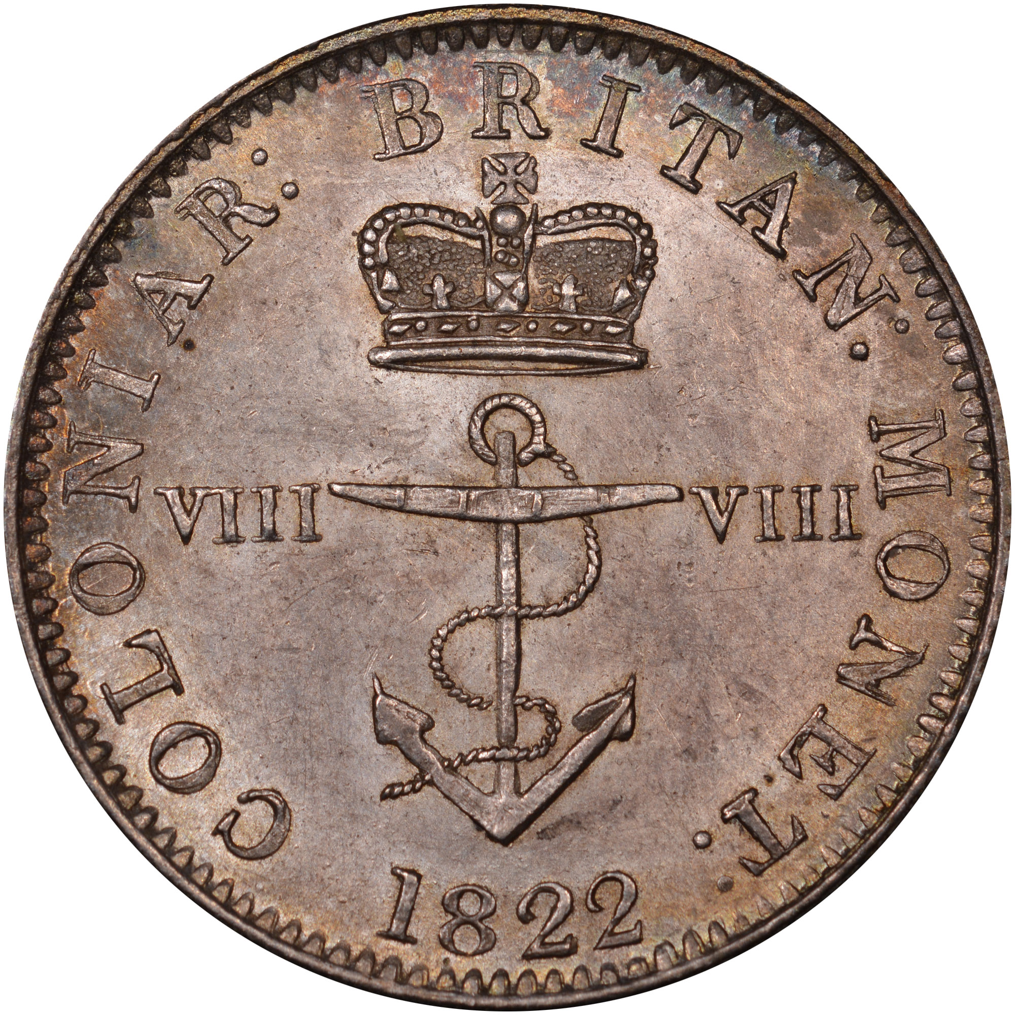 1820-1822/1 British West Indies 1/8 Dollar obverse