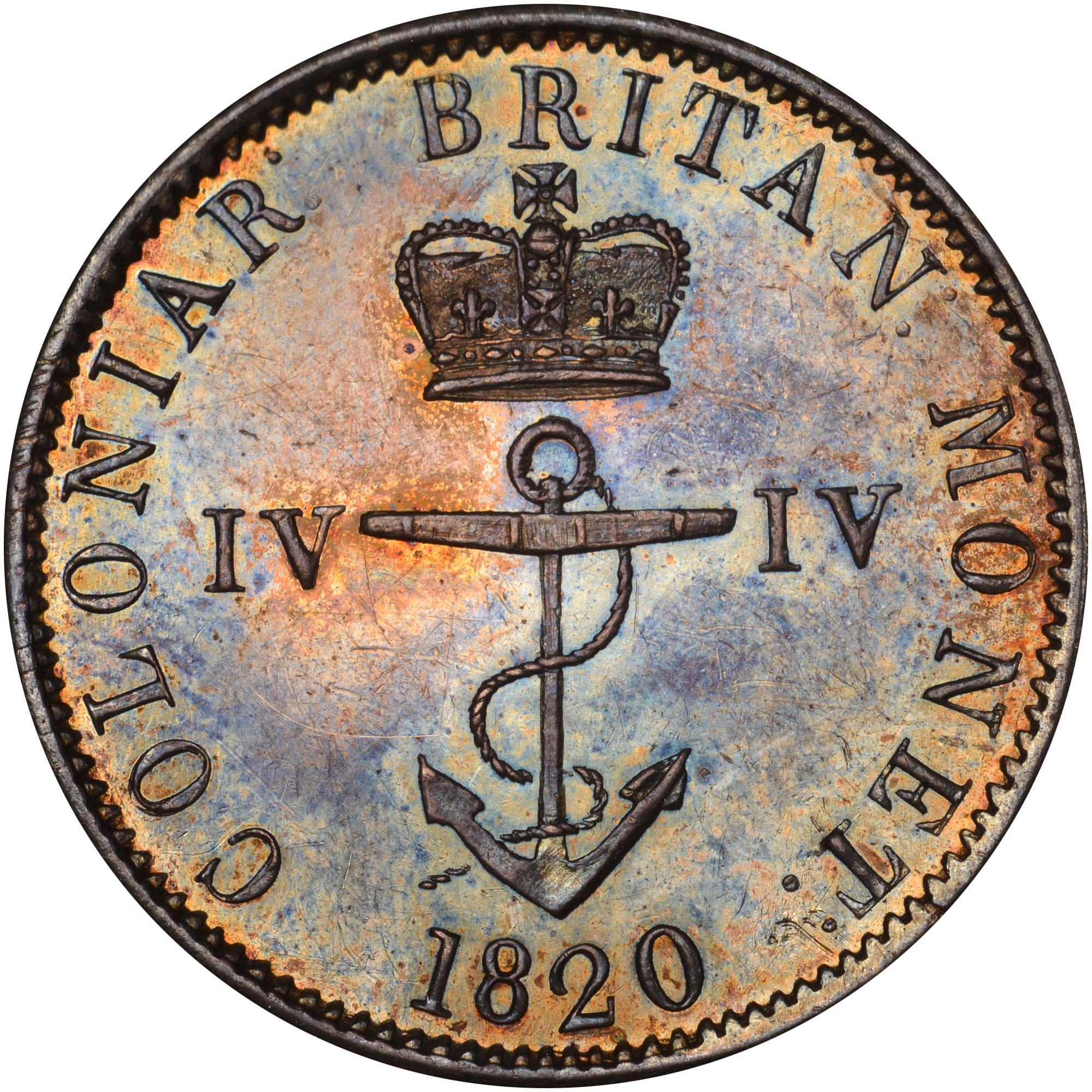 1820-1822/1 British West Indies 1/4 Dollar obverse