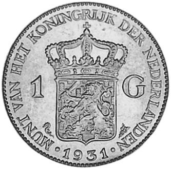 1922-1944 Netherlands Gulden reverse