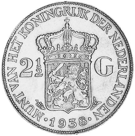 1929-1940 Netherlands 2-1/2 Gulden reverse