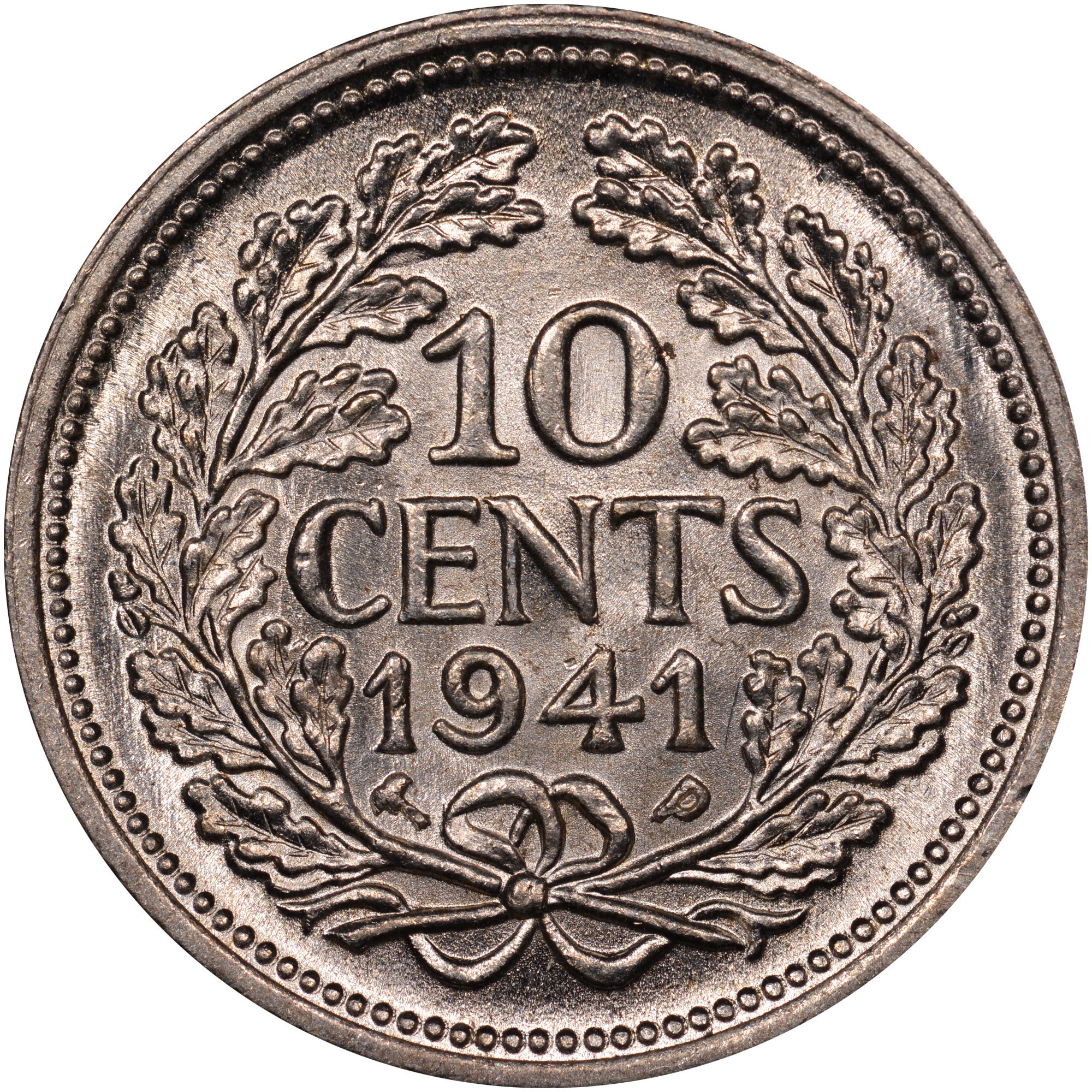 1941-1943 Curacao 10 Cents reverse