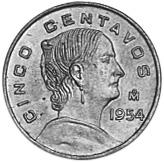 1954-1969 Mexico 5 Centavos reverse