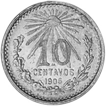 North & Central America Coins Mexico 10 Cent Silver Coin 1906