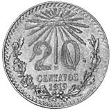 1919 Mexico 20 Centavos reverse