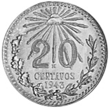 1920-1943 Mexico 20 Centavos reverse