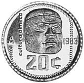 C701 1984 Mexico 20 Centavos Olmec Culture 2 year  KM 491