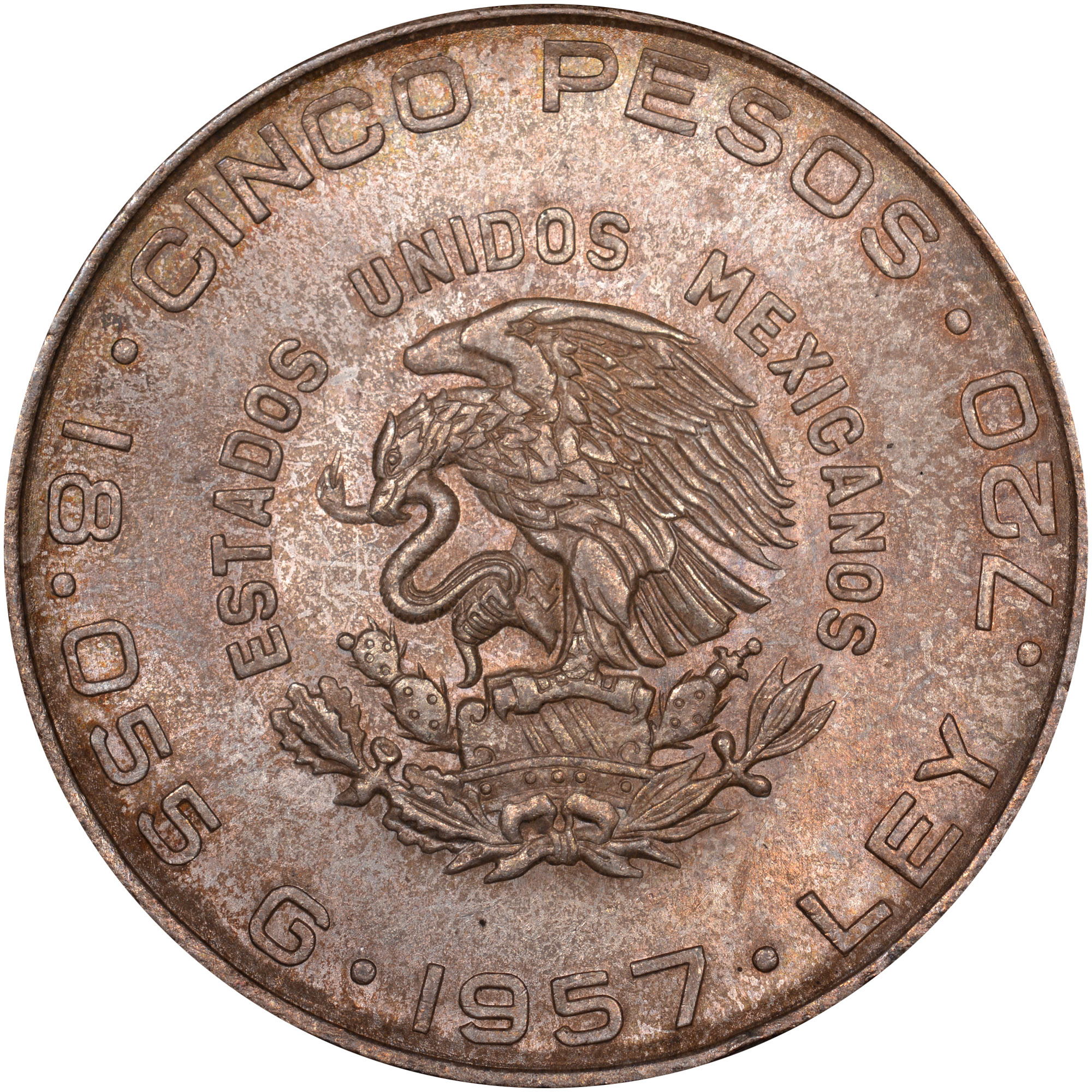 1955-1957 Mexico 5 Pesos KM 469 Prices & Values | NGC
