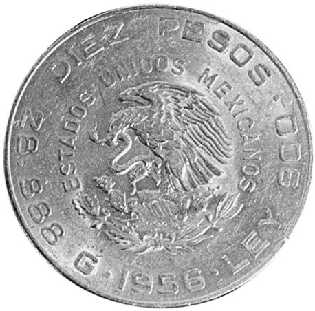 Mexico ESTADOS UNIDOS MEXICANOS 10 Pesos obverse