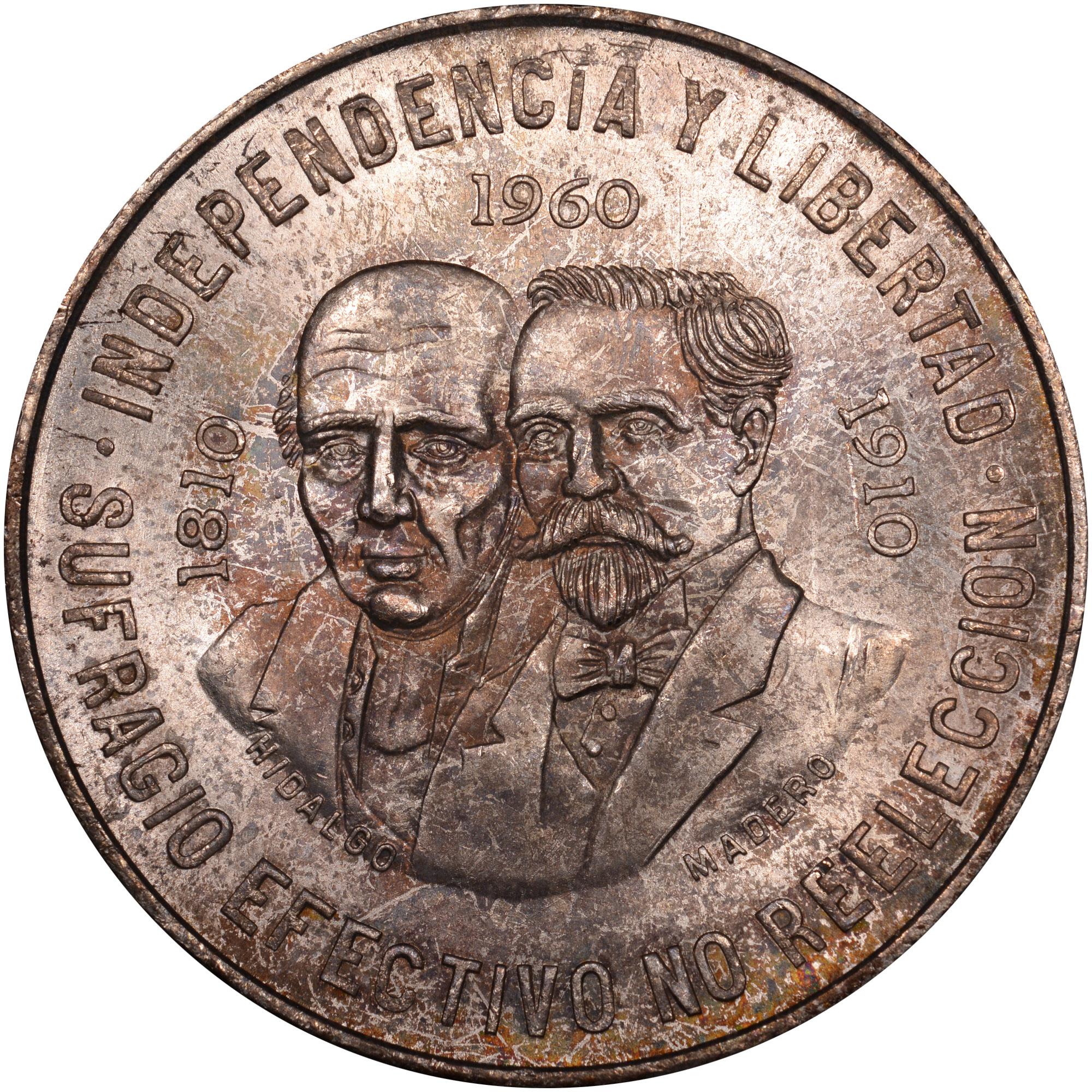 1960 Mexico 10 Pesos reverse