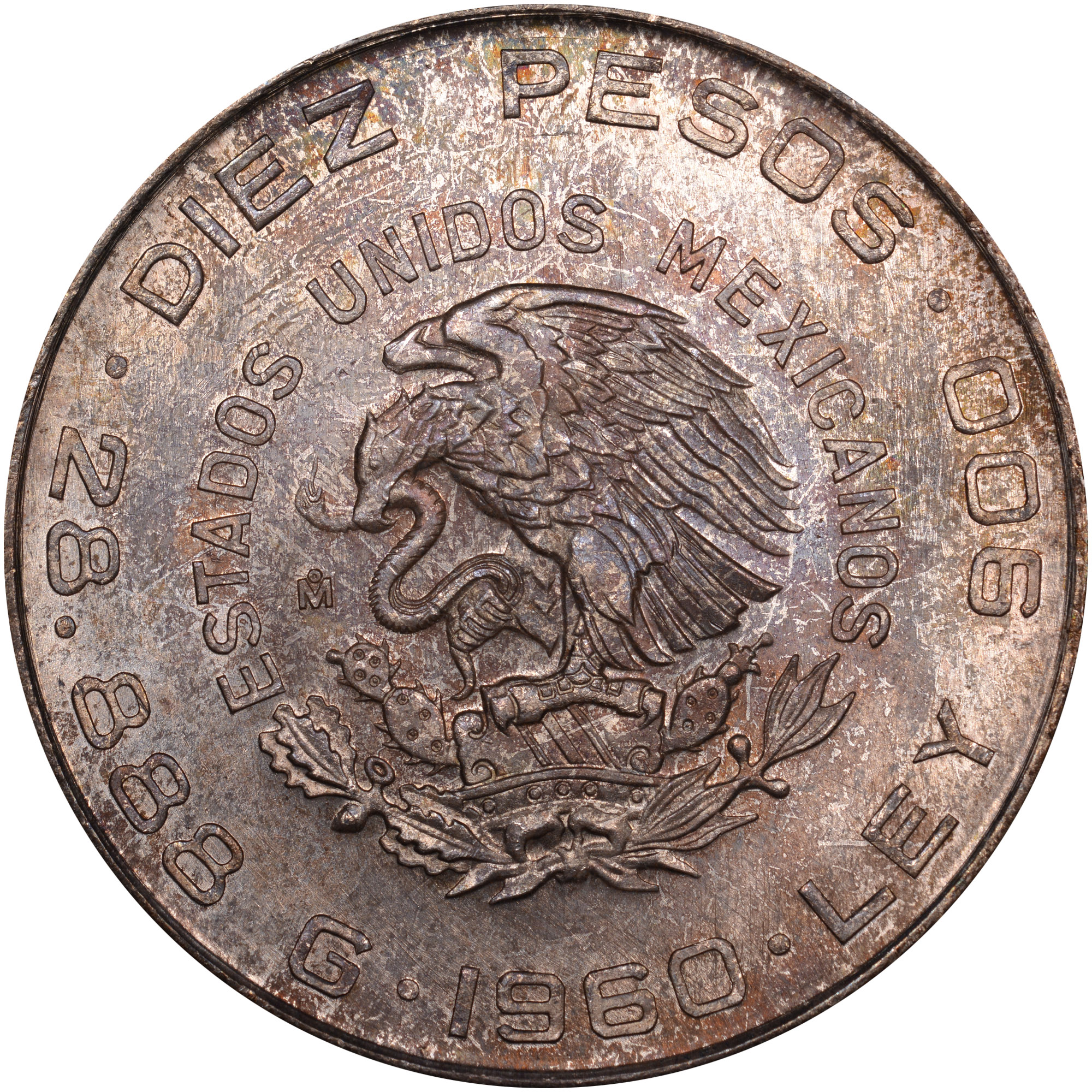 1960 Mexico 10 Pesos obverse