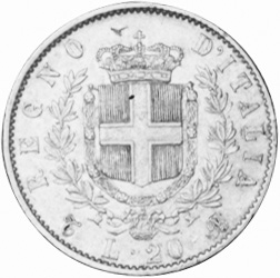 Italy 20 Lire reverse