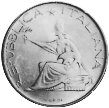 Vintage 500 Lire silver coin from Italy year 1961 with horses and chariot Cut Co