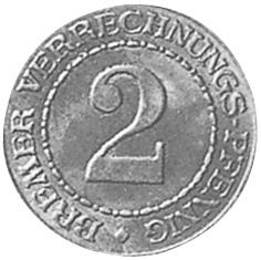 (1924) German States BREMEN 2 Verrechnungs-Pfennig reverse