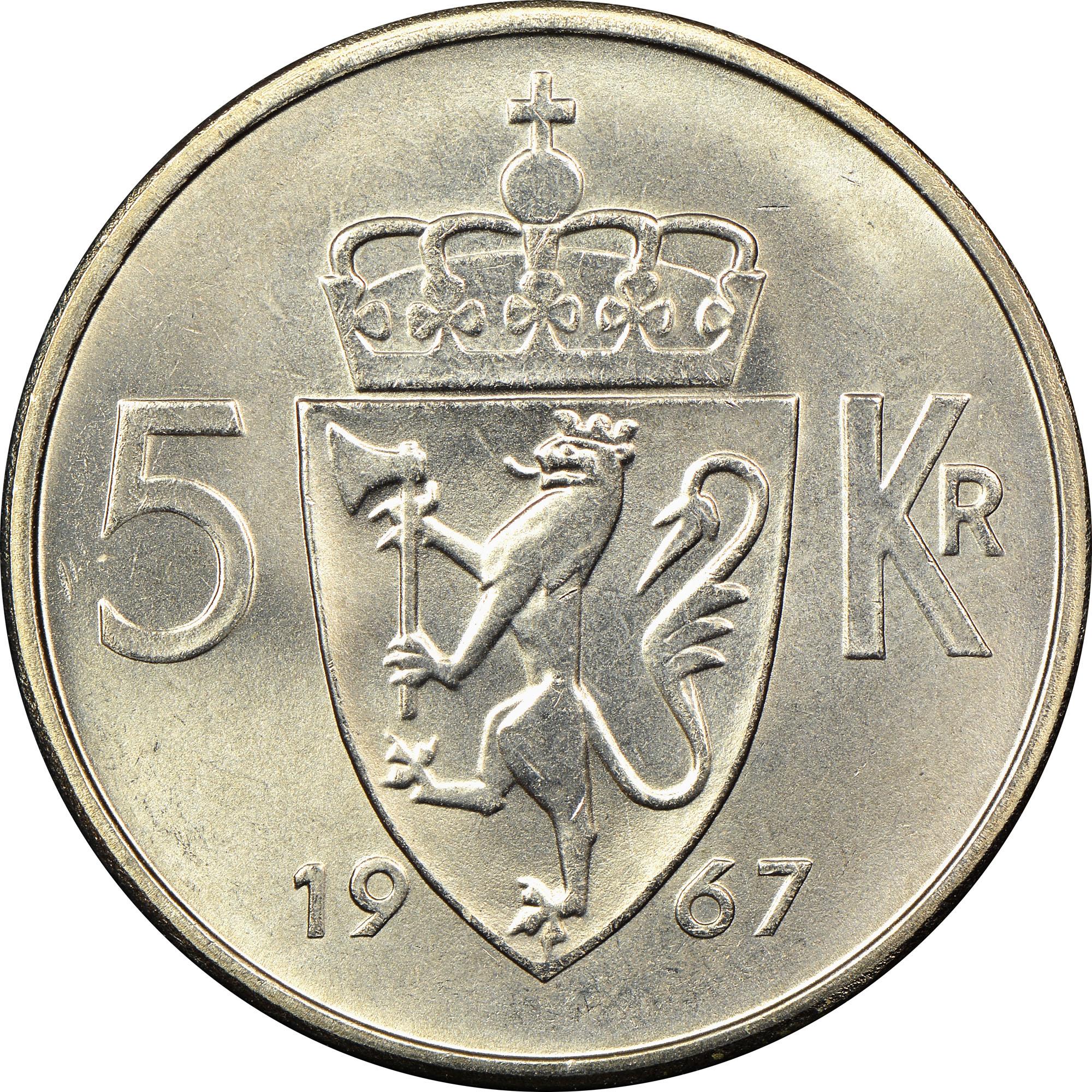 1963-1973 Norway 5 Kroner reverse