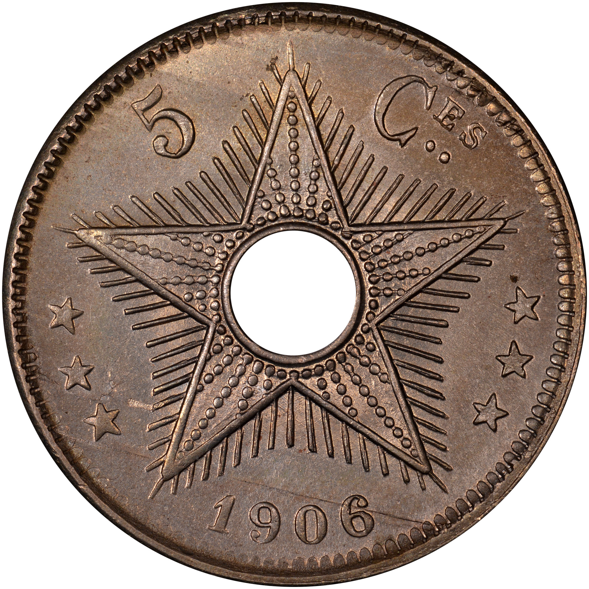 1906-1908/6 Congo Free State 5 Centimes reverse