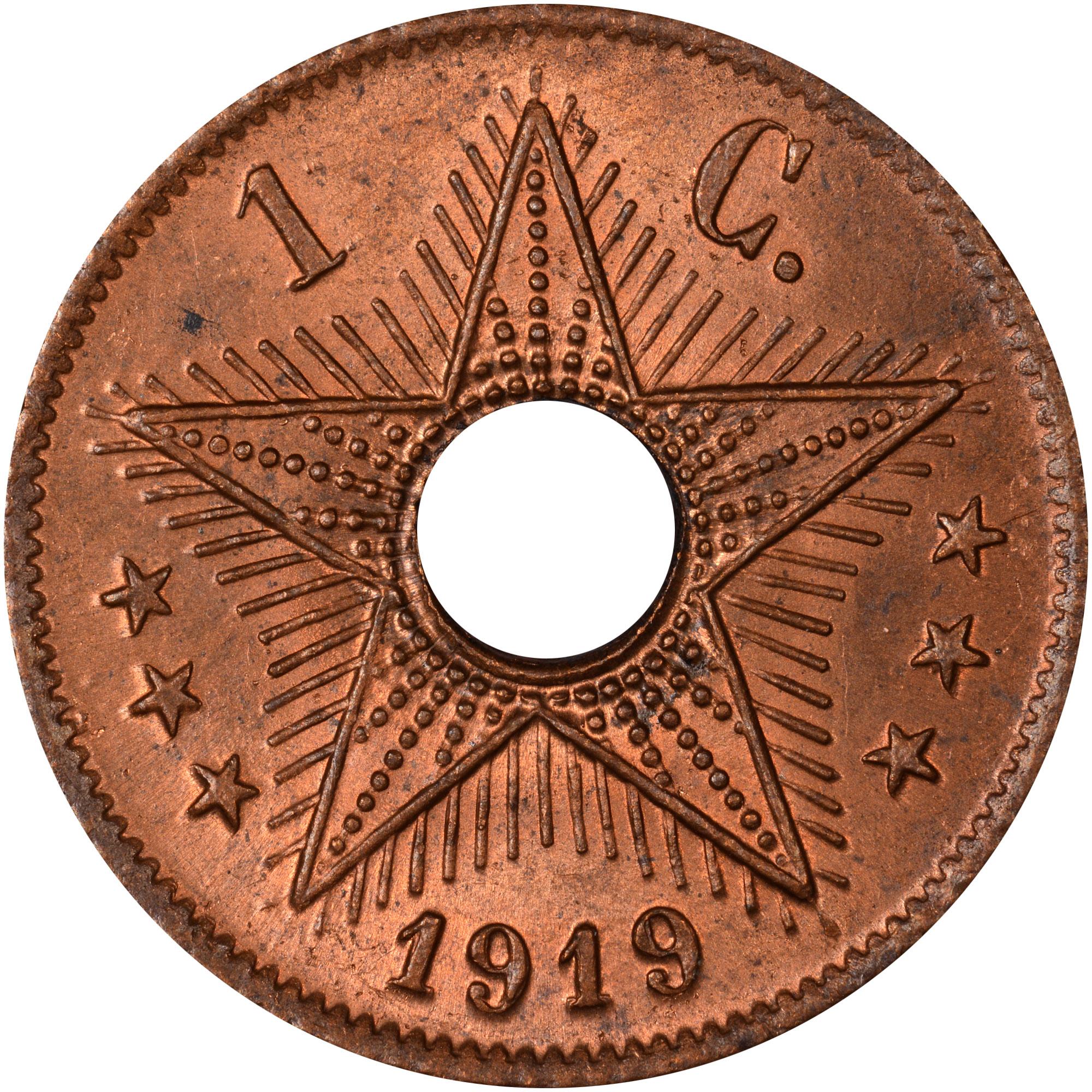 1910-1919 Belgian Congo Centime reverse