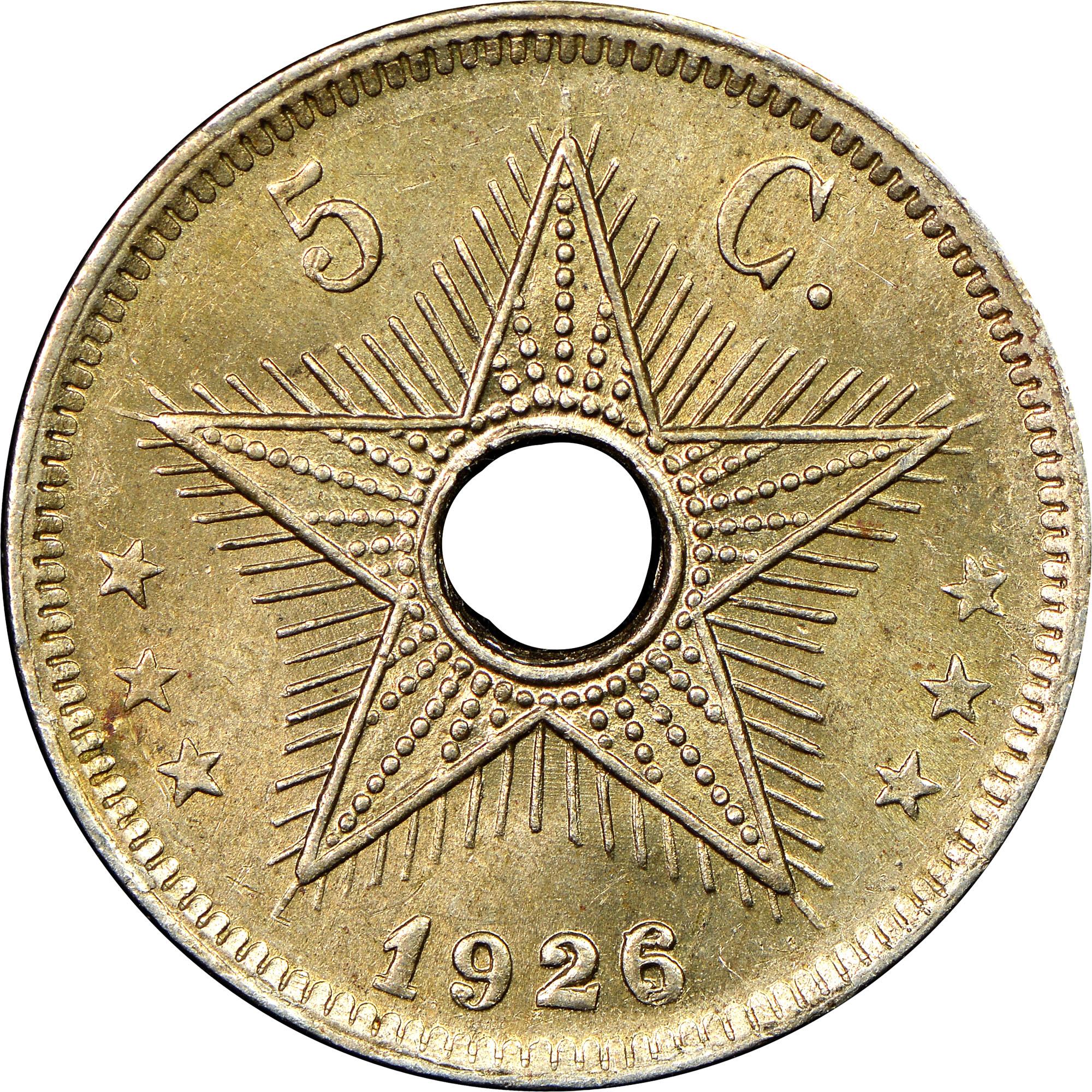 1910-1928/6 Belgian Congo 5 Centimes reverse