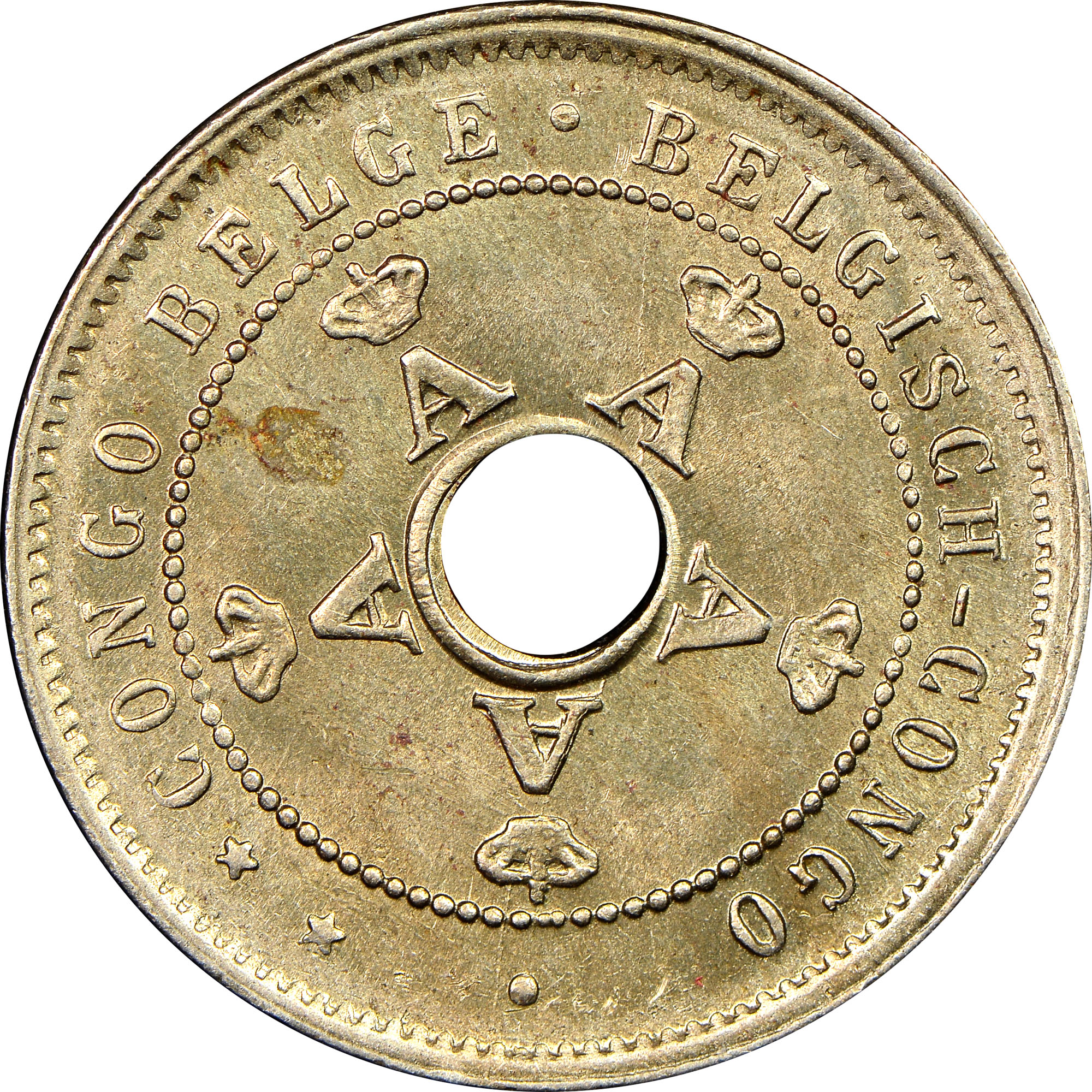 5 CENTIMES COIN 1921 YEAR KM#17 BELGIAN CONGO