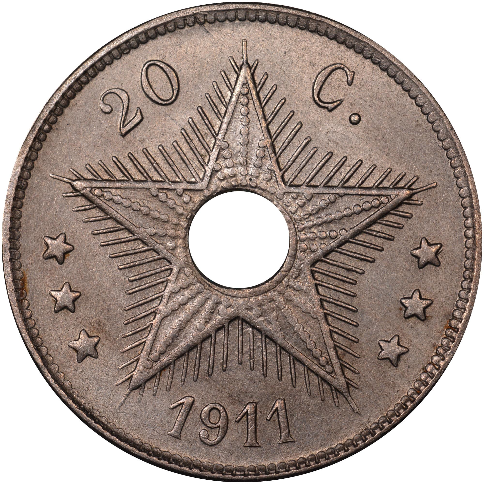 1910-1911 Belgian Congo 20 Centimes reverse