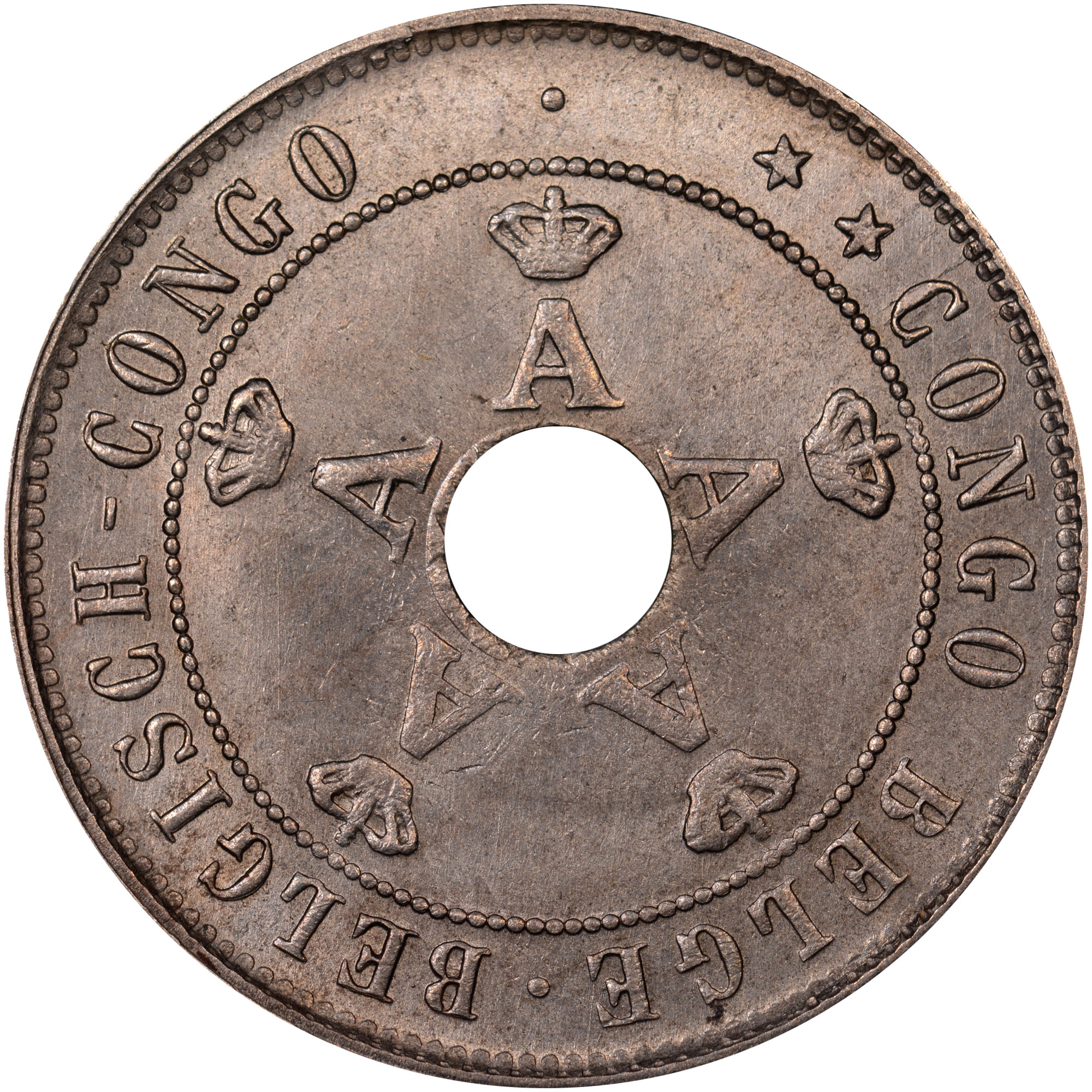 1910-1911 Belgian Congo 20 Centimes obverse
