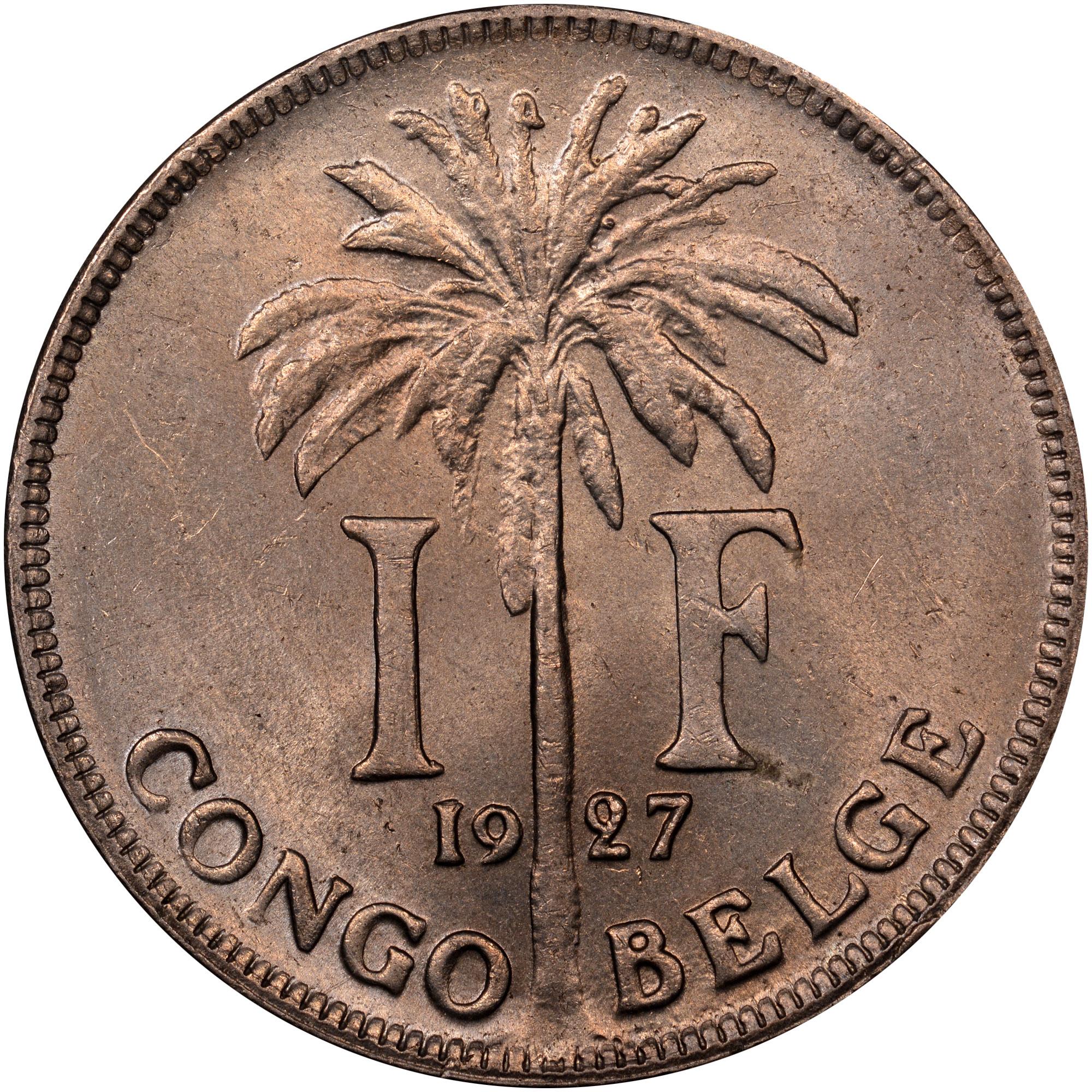 Belgian Congo Franc reverse