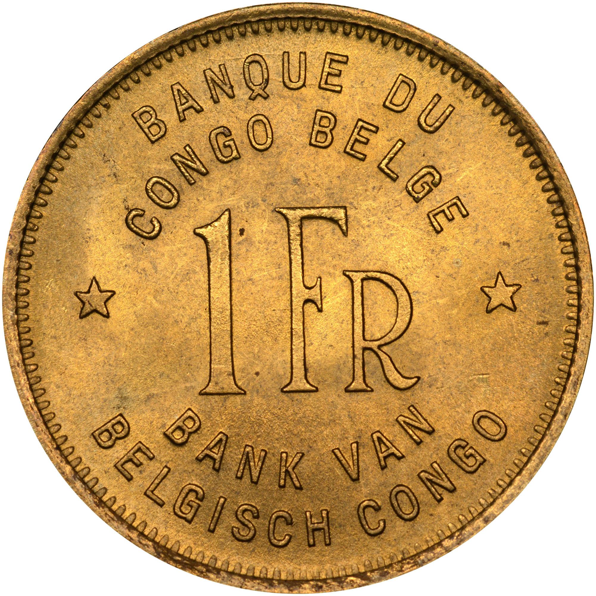 Belgian Congo Franc obverse