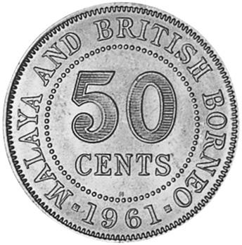 1954-1961 Malaya & British Borneo 50 Cents reverse