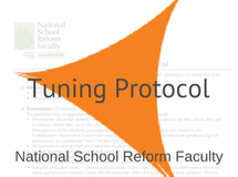 Tuning Equity Protocol, National School Reform Faculty