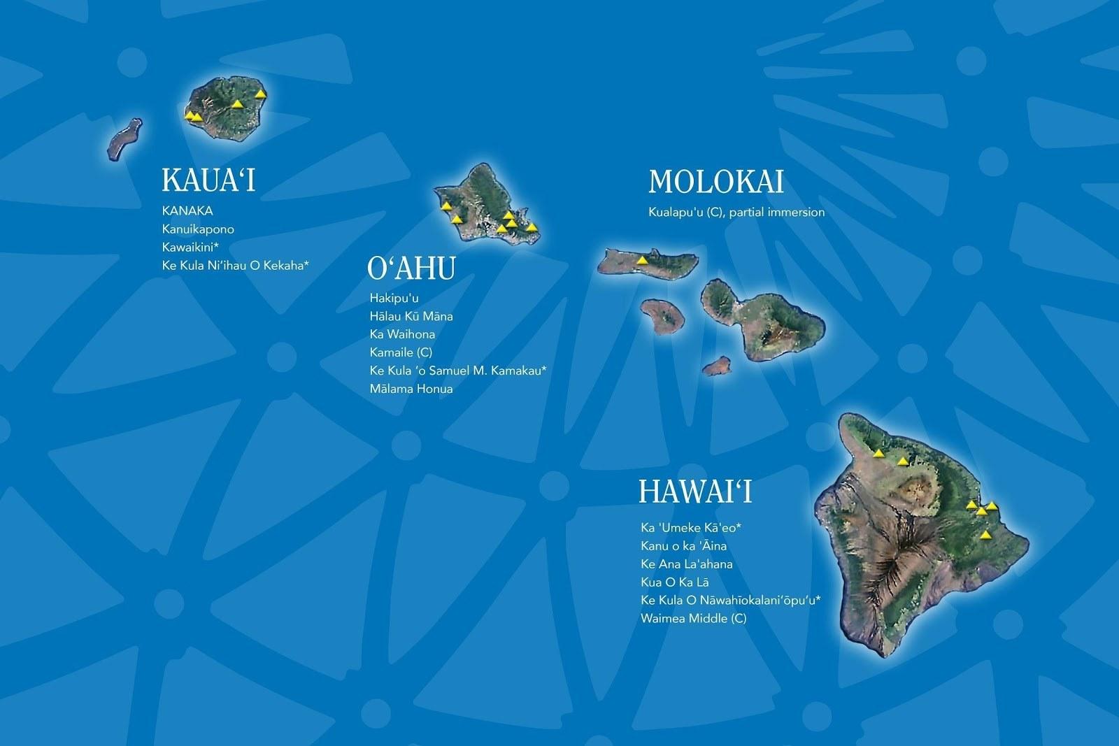 Map of Hawaiian-focused charter schools