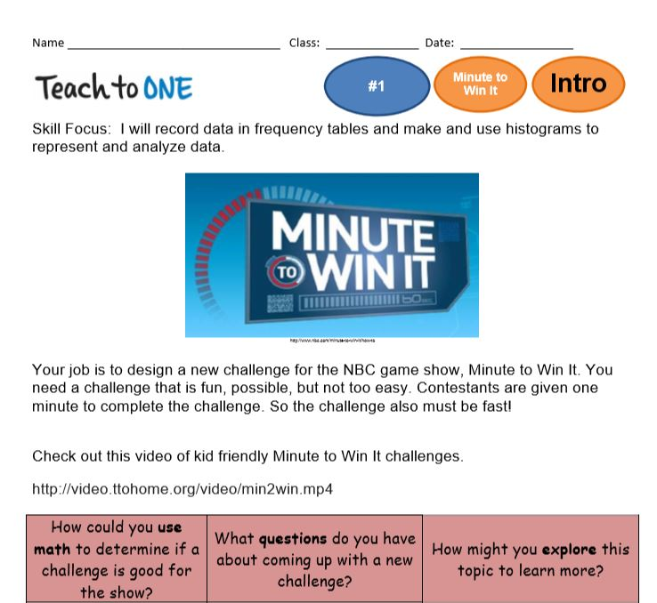 Teach to One Minute to Win It