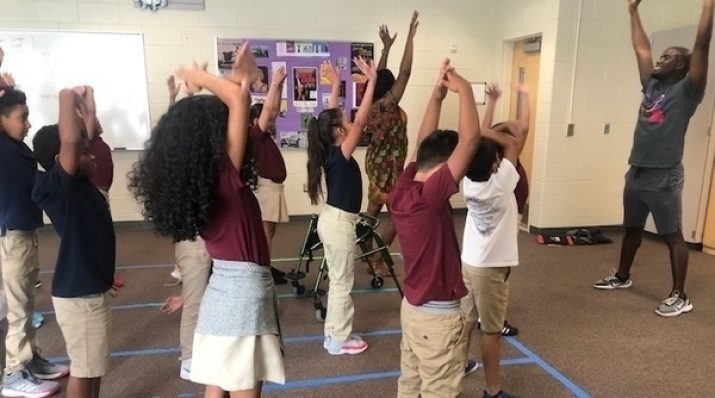 students dancing in class