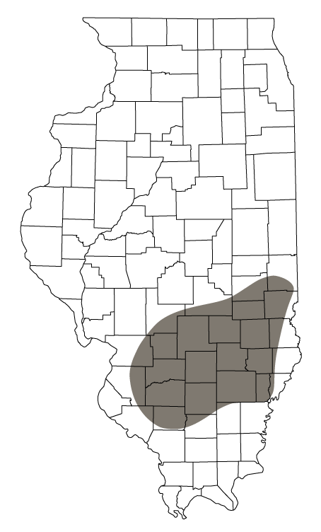 A map of Illinois counties showing the 1960 distribution of Greater Prairie-chickens.