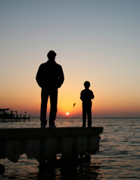 Father and son mindfulness meditation