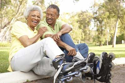 active senior couple smiling