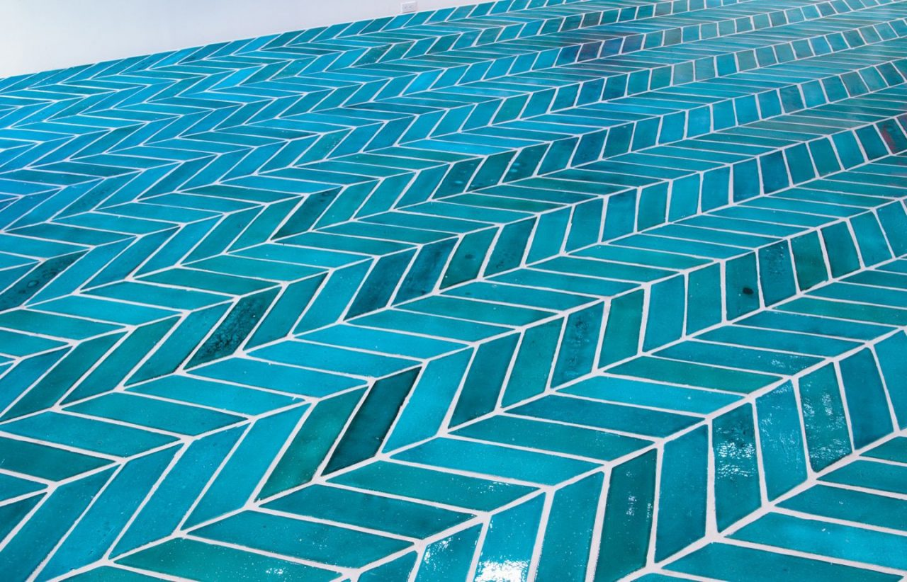 The Wave | Platform, Hot Blue Terracotta (detail), 2014