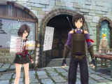 In town and accessing inventory in Sword Art Online: Integral Factor