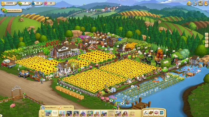 Fields of sunflowers in Farmville 2