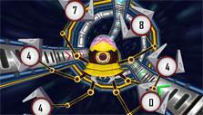 Solving math problems in Math Blaster: Hyperblast 2
